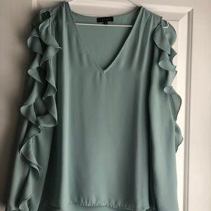 Silky seafoam colored blouse